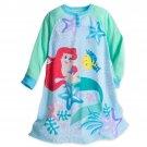 Disney Store Ariel Nightshirt Nightgown Princess The Little Mermaid Long Sleeve Blue Green Size 5-6