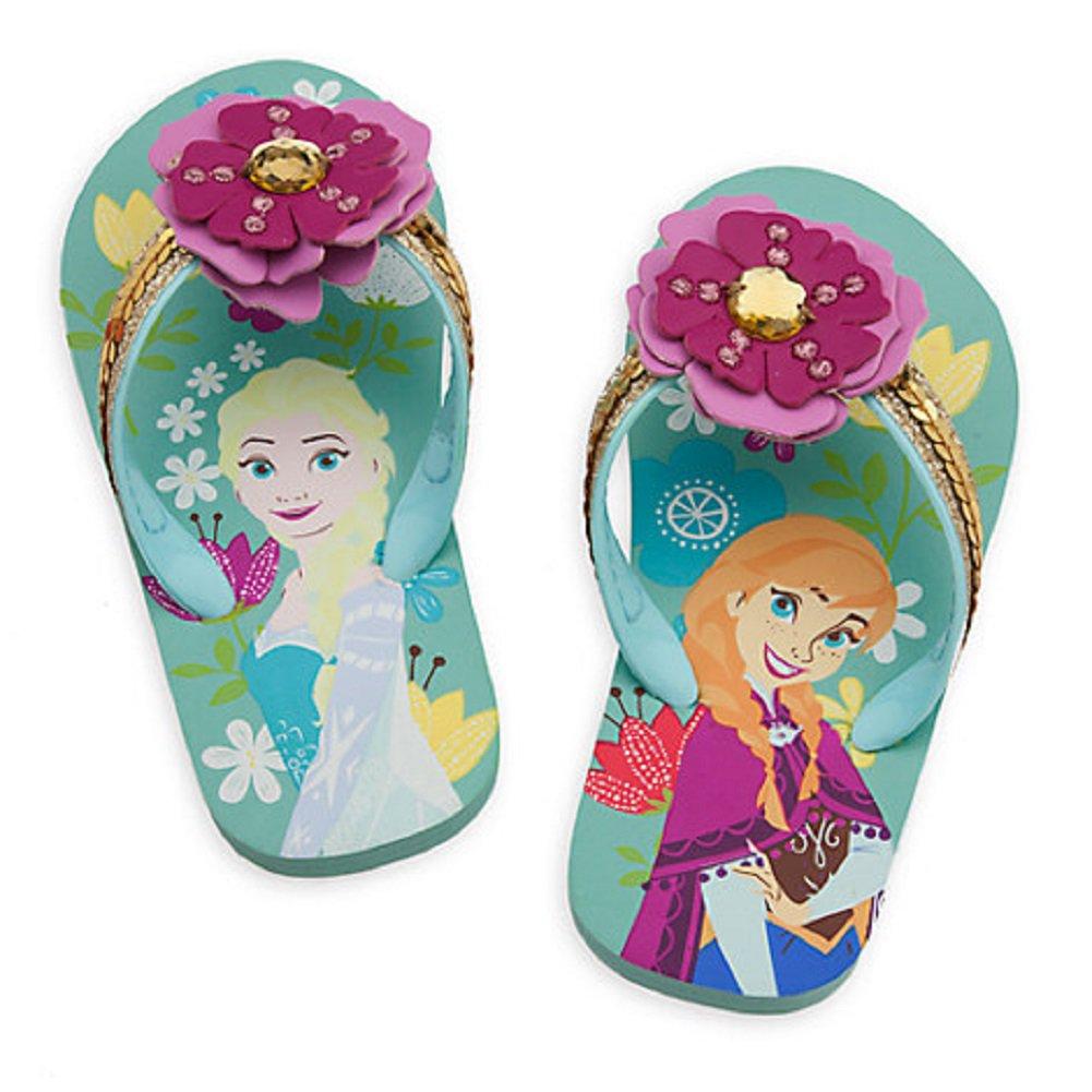 Disney Store Frozen Elsa Anna  Flip Flops 2017 Size 13/1