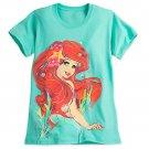 Disney Store Ariel T-Shirt Tee Ladies The Little Mermaid Green 2017 Size Small