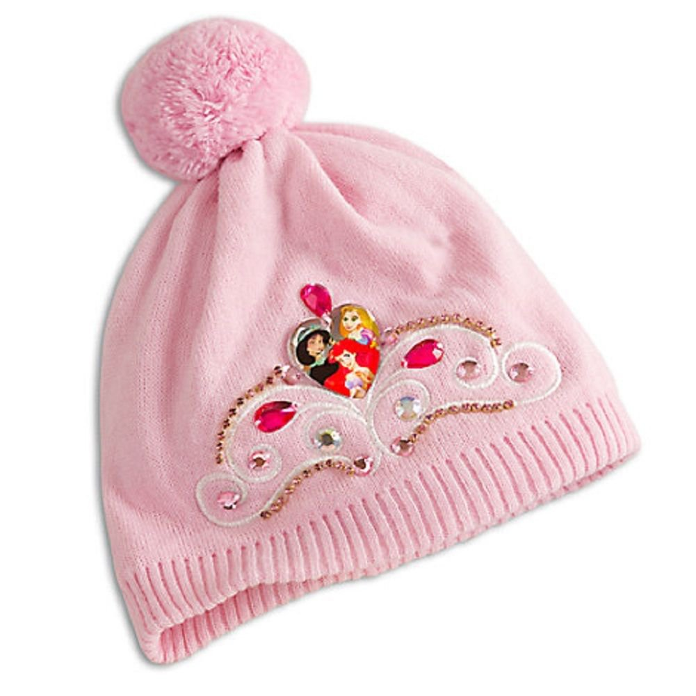 Disney Store Princess Knit Hat Jasmine Ariel Rapunzel Pink Size XS/S 2016