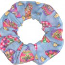 Easter Eggs Blue Fabric Hair Scrunchie Ties Pony Tail Holder Tie Scrunchies by Sherry