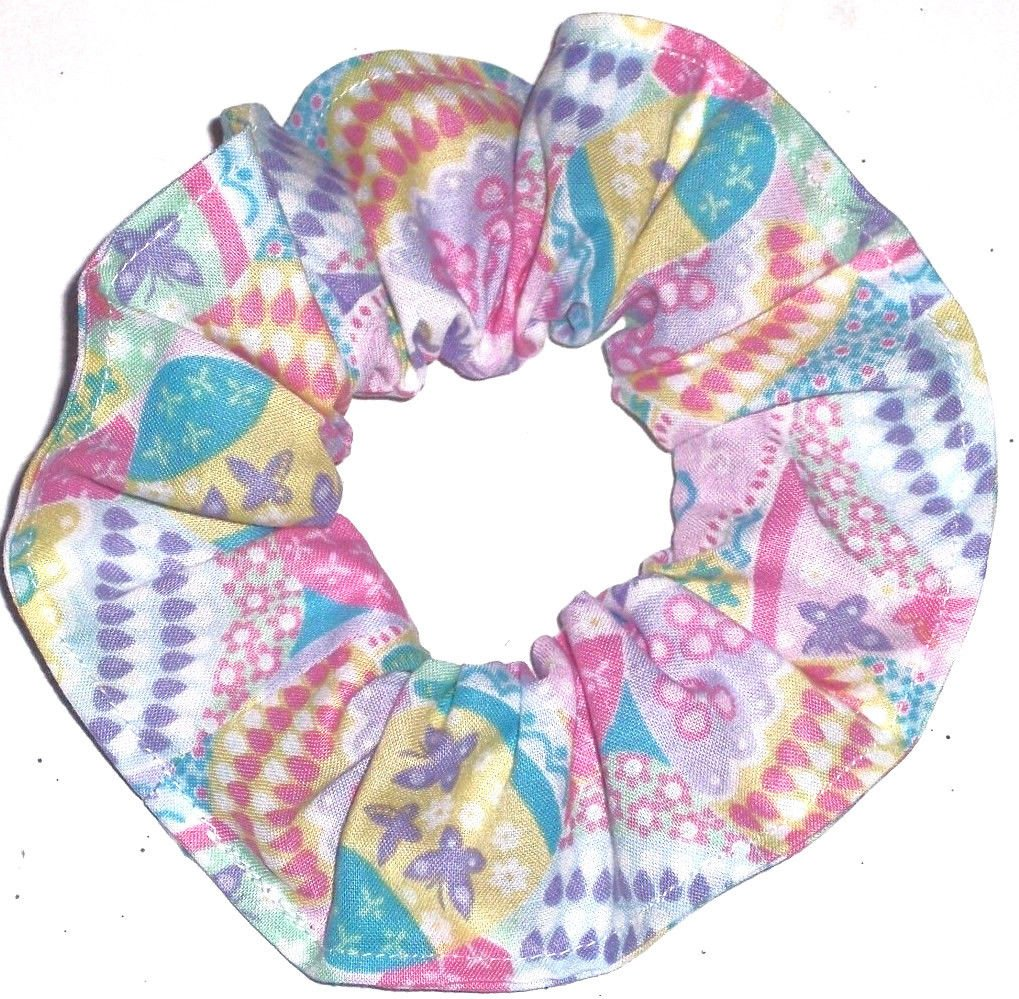 Easter Eggs White Fabric Hair Scrunchie Ties Pony Tail Holder Tie Scrunchies by Sherry