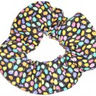 Jelly Beans Black Glitter Fabric Hair Scrunchie Ties Pony Tail Holder Tie Scrunchies by Sherry