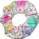 Easter Eggs Floral White Fabric Hair Scrunchie Ties Pony Tail Holder Tie Scrunchies by Sherry