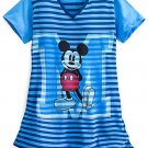 Disney Store Mickey Mouse Blue Striped Ladies Nightshirt Nightgown M/L