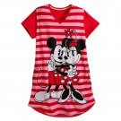 Disney Store Minnie Mickey Mouse Red Striped Ladies Nightshirt Nightgown XS/S