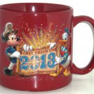 Disney Cruise Line Coffee Mug Cup 2013 Mickey Mouse Donald Duck Maroon
