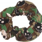 Camo Skulls Fabric hair Scurnchie Scrunchies by Sherry
