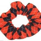 Halloween Black Orange Argyle Fabric hair Scurnchie Scrunchies by Sherry
