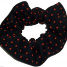 Tiny Orange Polka Dots on Black Fabric Hair Scrunchie Ties Scrunchies by Sherry