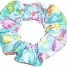 Butterflies Butterfly Blue Glitter Fabric Hair Scrunchie Ties Scrunchies by Sherry