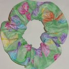 Butterflies Butterfly Green Glitter Fabric Hair Scrunchie Ties Scrunchies by Sherry
