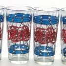 Pepsi Cola Drinking Glasses Stained Glass Red Blue Vintage 1970's Lot of 4