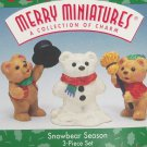 Hallmark Ornament Snowbear Season 1997 Christmas Merry Miniatures Set of 3