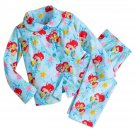 Disney Store Ariel Sleep Set Pajamas Princess Blue Flannel 2017 Size 7/8