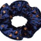 Hair Scrunchie Navy Metallic Gold Stars Panne Velvet Tie Ponytail Holder Scrunchies by Sherry