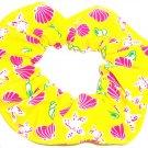 Yellow Pink Shells Spandex Hair Scrunchie Fabric Scrunchies by Sherry