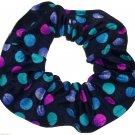 Pink Purple Blue Dots Black Spandex Hair Scrunchie Fabric Scrunchies by Sherry