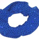 Royal Blue Sequins Spandex Hair Scrunchie Fabric Scrunchies by Sherry