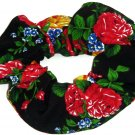 Floral Red Blue Yellow Black Simply Silky Hair Scrunchie Scrunchies by Sherry