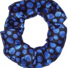Blue Dots Black Simply Silky Hair Scrunchie Scrunchies by Sherry