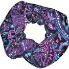 Purple Black Blue Paisley Simply Silky Hair Scrunchie Scrunchies by Sherry