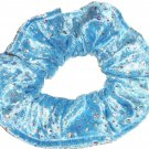 Blue Sparkle Velour Fabric Hair Scrunchie Scrunchies by Sherry