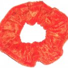 Orange Panne Velvet Fabric Hair Scrunchie Scrunchies by Sherry