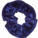 Navy Blue Panne Velvet Fabric Hair Scrunchie Scrunchies by Sherry