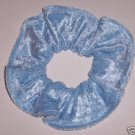 Baby Blue Panne Velvet Fabric Hair Scrunchie Scrunchies by Sherry
