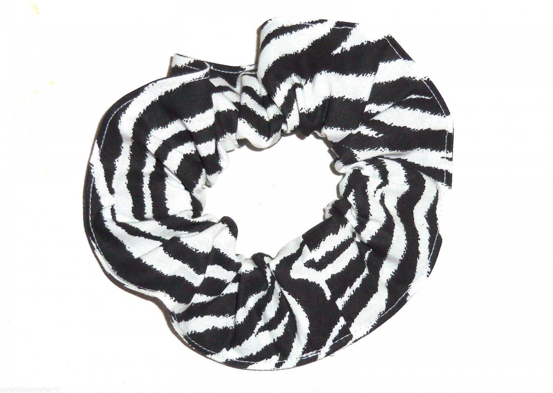 Black White Zebra Cotton Hair Scrunchie Scrunchies by Sherry