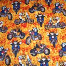 Cats on Motorcycles Bikes Gold Fabric Hair Ties Scrunchie Scrunchies by Sherry