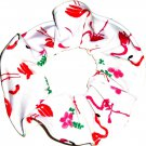 Flamingos White Knit Fabric Hair Ties Scrunchie Scrunchies by Sherry