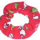 Merry Christmas Hello Kitty Red Fabric Hair Scrunchie Scrunchies by Sherry