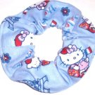 Hello Kitty Blue Flannel Fabric Hair Tie Scrunchie Ties Scrunchies by Sherry