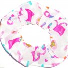 Barbie Jersey Knit White Fabric Hair Scrunchie Scrunchies by Sherry