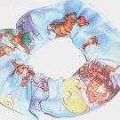 Winnie the Pooh Christmas Blue Fabric Hair Scrunchie Scrunchies by Sherry