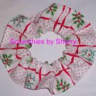 Christmas Holiday Holly White Fabric Hair Scrunchie Ties Scrunchies by Sherry