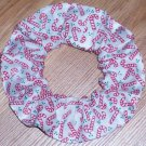 Christmas Holiday Candy Canes White Fabric Hair Scrunchie Ties Scrunchies by Sherry