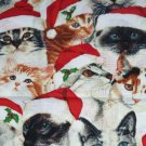 Cats in Santa Hats Christmas Holiday Fabric Hair Scrunchie Ties Scrunchies by Sherry