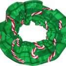 Candy Canes Christmas Holiday Green Fabric Hair Scrunchie Ties Scrunchies by Sherry