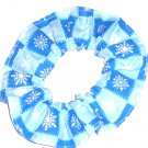 Snowflakes Checker Board Blue Christmas Holiday Fabric Hair Scrunchie Ties Scrunchies by Sherry