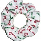 Christmas Holiday Candy Canes White Interlock Knit Fabric Hair Scrunchie Ties Scrunchies by Sherry