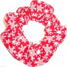 Snowflakes Red Christmas Holiday Fabric Hair Scrunchie Ties Scrunchies by Sherry