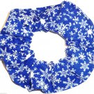 Snowflakes Blue Christmas Holiday Fabric Hair Scrunchie Ties Scrunchies by Sherry