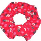 Snowman Red Christmas Holiday Fabric Hair Scrunchie Ties Scrunchies by Sherry
