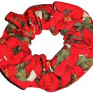 Poinsettia Red Christmas Holiday Fabric Hair Scrunchie Ties Scrunchies by Sherry