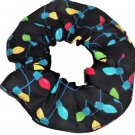 Holiday Lights Christmas Holiday Black Fabric Hair Scrunchie Ties Scrunchies by Sherry