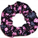 Disney Mickey Mouse Pink Floral Black Fabric hair Scurnchie Scrunchies by Sherry