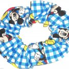Disney Mickey Mouse Blue Gingham Fabric hair Scurnchie Scrunchies by Sherry